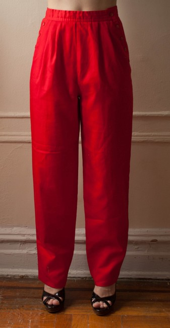 La Classe Vintage 1980s 80s Nautical Sailor High Waisted Hipster Boho Candy Apple Red Retro Rockabilly 1970s 70s Pleated Straight Pants Cherry Red