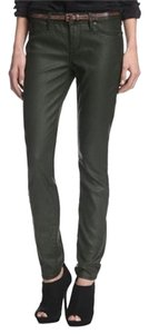 Rich & Skinny Coated Waxed Olive Skinny Jeans-Coated