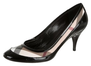 Burberry Plaid Nova Check Round Toe Monogram Patent Leather Black, Beige Pumps