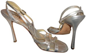Versace Strass Crystals Hardware Leather Dust Bag Silver Sandals