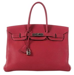 Herms Red Hr.k0418.01 Fjord Leather Satchel
