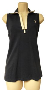 Ralph Lauren Collar Sleeveless Zipper Top navy blue