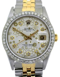 Rolex 34MM ROLEX DATE FLOWER PATTERNED WATCH WITH ROLEX BOX & APPRAISAL