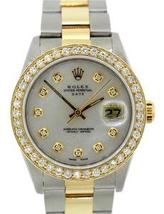 Rolex MEN'S ROLEX DATE DIAMOND GOLD BEZEL WATCH WITH ROLEX BOX & APPRAISAL