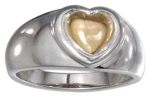 Sterling Silver High Polish Two-Tone Heart Band Ring