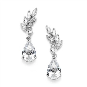 Mariell Silver Cubic Zirconia Or Bridesmaids with Baby Leaves Teardrops 3634e Earrings