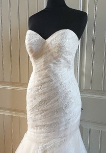 Essense of Australia Stone Tulle Over Ivory Dolce Satin Lace Stella York 6143 Feminine Wedding Dress Size 12 (L)