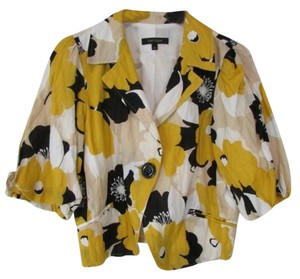 Karen Kane 3/4 Sleeve One Button Blazer Floral Yellow Jacket