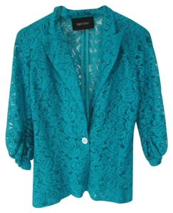 Karen Kane Sheer Lace One Button Blue Blazer