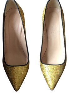 J.Crew Gold sparkles and black trim Pumps