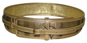 Burberry NWT BURBERRY CHECK HIGH WAISTED SINGLE BUCKLE LEATHER BELT SZ 36 MADE IN ITALY