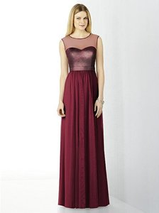 Dessy Burgundy/Metallic Gold 6726 Formal Bridesmaid/Mob Dress Size 12 (L)