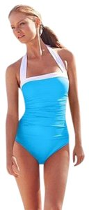 Ralph Lauren RUCHED BANDEAU SLIM FIT TUMMY CONTROL HALTER SWIMSUIT - SZ 12