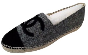Chanel Espadrilles Tweed Grey Flats