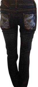 Ed Hardy crystal embellished pockets Boot Cut Jeans-Dark Rinse