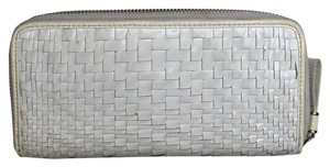Cole Haan White Patent Basket Weave Wallet