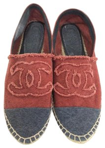 Chanel Canvas Two-tone Espadrille Red/Denim Flats