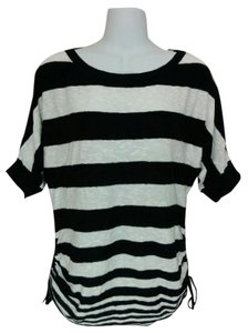 Style & Co Striped Linen Ruched Scoop Neck Knit Top Black & white