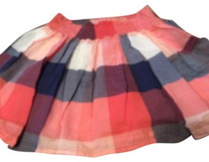 Abercrombie & Fitch Mini Skirt Blue, Coral, white check