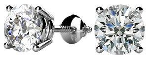 Avi and Co 0.50 cttw Round Brilliant Diamond Screw Back Stud Earrings H-I/SI 14K White Gold