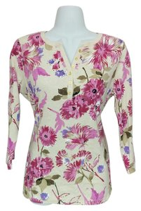Karen Scott V-neck 3/4 Sleeve Floral Top Multi-color