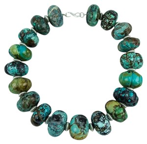 Natural Carved Turquoise and Sterling Silver Necklace
