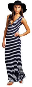 Navy and White Striped Maxi Dress by Other Summer Maxi