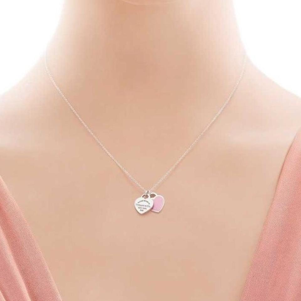 Tiffany co silver return to mini double heart pendant necklace double heart pendant 12345 mozeypictures Image collections