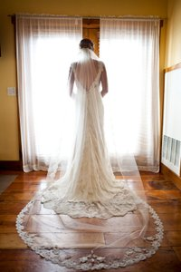 Alisa Brides Cathedral Length With Wide French Alencon Lace At Bottom Edge