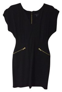 French Connection Lbd Gold Hardware Gold Sleeveless & Gold Holiday Cocktail Dress
