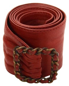 Chanel Chanel Red Leather Sash Belt BHW