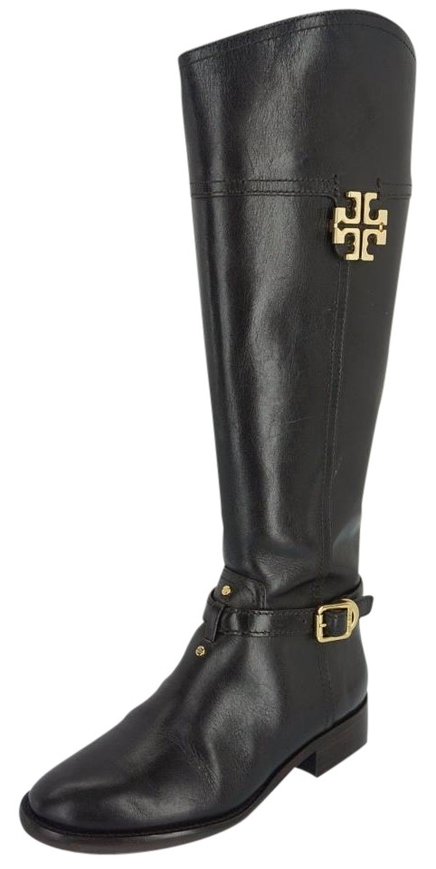 8aee400eb433 Tory Burch Brown Leather Eloise Knee High Gold Logo Riding Boots Booties