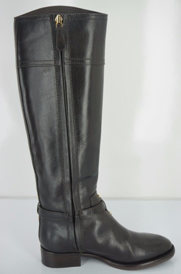 2f4901aec1da Tory Burch Brown Leather Eloise Knee High Gold Logo Riding Boots ...