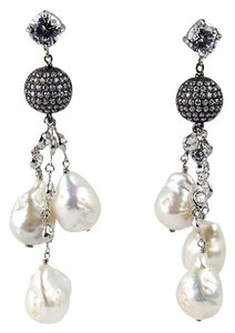 Pearl and CZ Sterling Silver Drop Earrings