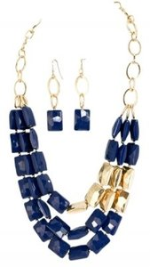 Other Navy Blue and Gold Acrylic Bead Necklace Earrings
