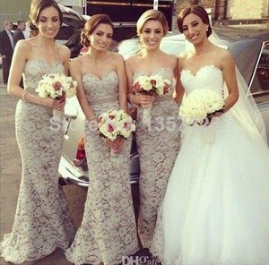 Beige / Off White Vestidos De Fiesta 2016 Sexy Sweetheart Floor Length Lace Bridesmaid Dresses Applique Backless Mermaid Bridesmaid Gown Dress