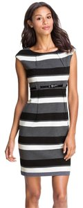 Calvin Klein short dress Black, Gray, White, Stretch Luxe Sheath Sheath on Tradesy