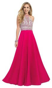 Blush Prom High Neck A-line Pink Dress