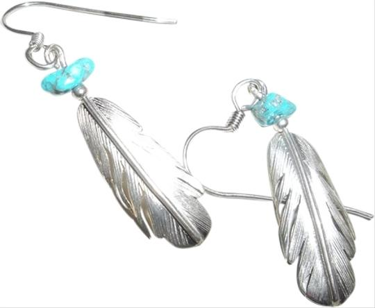 H&J Chavez Sterling Silver Signed Feather Earrings with Turquoise