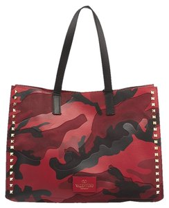 Valentino Canvas Leather Camouflage Tote in Red & Black