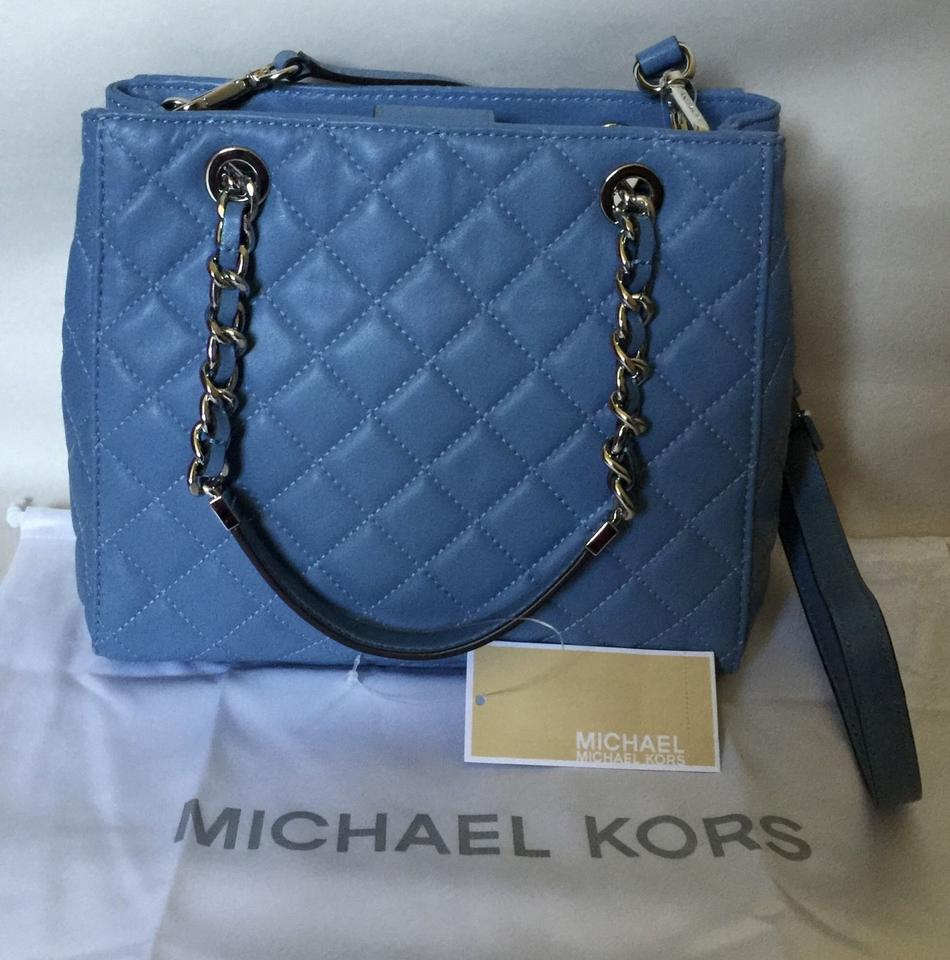 8a36b8d038 Michael Kors Susannah Small North South Sky Blue Leather Tote - Tradesy
