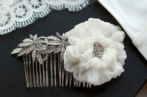 Never Worn Rhinestone Off White Hair Piece