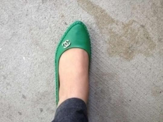 Emerald Green Flats Faux Leather Casual Rhinestone Decor On Side. Emerald Green Flats