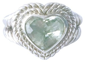 Judith Ripka Judith Ripka sterling silver ring with a green Quartz heart