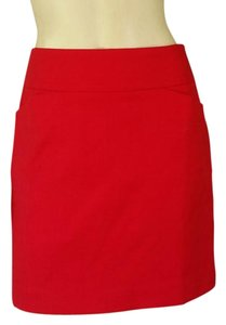 Ann Taylor LOFT Cotton Woven Above Knee Mini Skirt Red