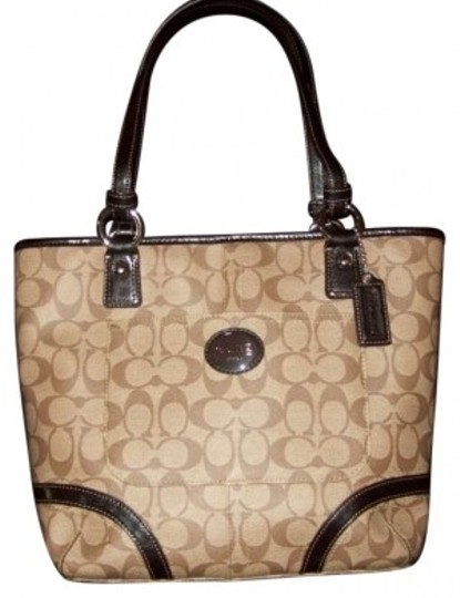 Preload https://item2.tradesy.com/images/coach-new-with-tags-peyton-signature-handbag-canvasleather-khaki-and-mahogany-coated-canvas-satchel-155596-0-0.jpg?width=440&height=440