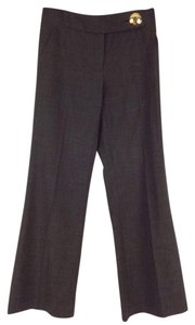 Tory Burch Wool Slacks Gold Hardware Trouser Pants Grey