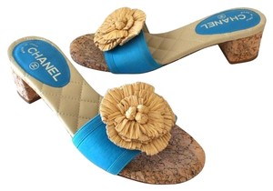 Chanel Espadrille Lambskin Graffiti Flats Blue Sandals