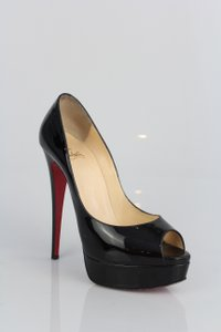 Christian Louboutin Lady Peep Black Patent Leather Pumps