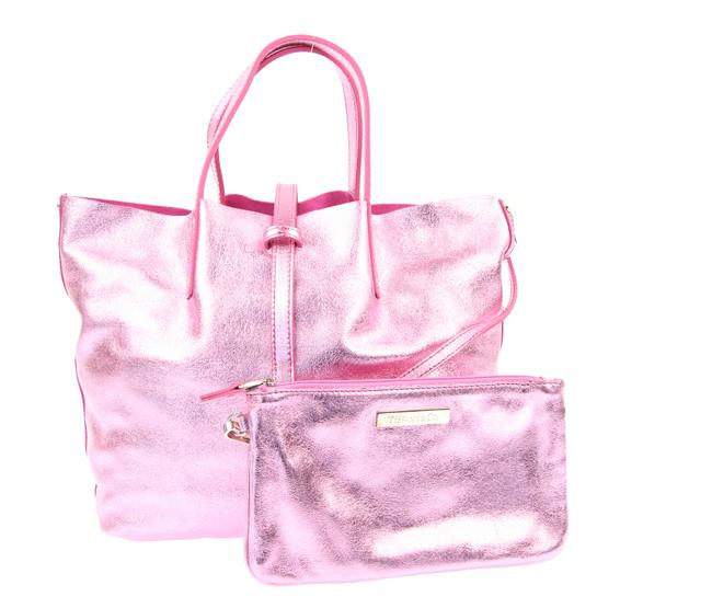 Item - Small Reversible Metallic Pink Leather Tote